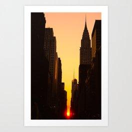 Manhattanhenge along 42nd Street NYC Art Print
