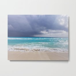 Cancun Mexico Beach Stormy Weather Original Photography Metal Print