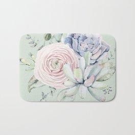 Mint Green + Pink Delight Succulents Bath Mat