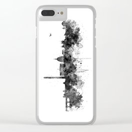 Washington DC Skyline Black and White Clear iPhone Case