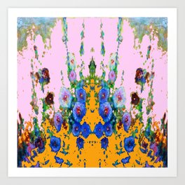BLUE HOLLYHOCKS WESTERN  GARDEN Art Print