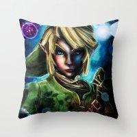majora Throw Pillows featuring Legend of Zelda Link the Epic Hylian by Barrett Biggers