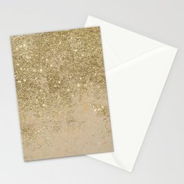 Girly trendy gold glitter ivory marble pattern Stationery Cards