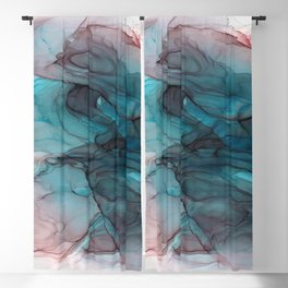 Blue, Black & Pink Alcohol Ink Painting Blackout Curtain