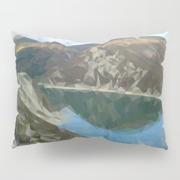 Lake in the mountains in polygon technique Pillow Sham