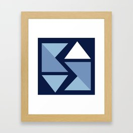 Origami Indigo Triangles Framed Art Print