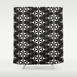 Flower of Life Pattern 12 Black White Shower Curtain