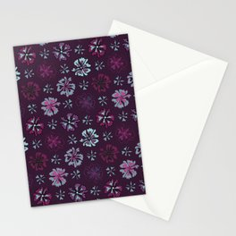 Purple Graphic Large Scale Flower Blooms Pattern Stationery Cards