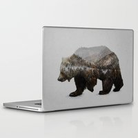 background Laptop & iPad Skins featuring The Kodiak Brown Bear by Davies Babies