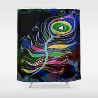 peacock feather Shower Curtains featuring Peacock Feather by SwanniePhotoArt