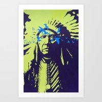native american Art Prints featuring Native American  by Ty McKie Creations