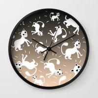kittens Wall Clocks featuring kittens by Seefirefly