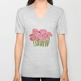 Pink Gerbera Daisy watercolor Unisex V-Neck