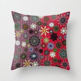 Snowflakes on Plum Purple & Scarlet Red Background (Xmas) Throw Pillow