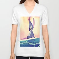 lilo and stitch V-neck T-shirts featuring Stitch by Chiaris