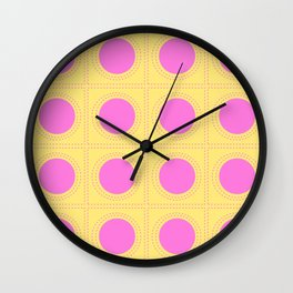 Quilt Circle Stitch Style - Light Yellow Pink Wall Clock