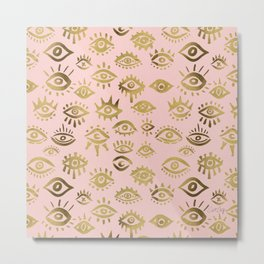 Mystics Eyes – Blush & Gold Metal Print