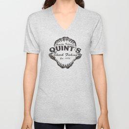 Quint's Shark Fishing Amity Island T-Shirt Tee Jaws Funny 70's Movie T Orca Unisex V-Neck
