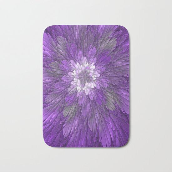 Psychedelic Purple Flower, Fractal Art Bath Mat