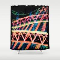 industrial Shower Curtains featuring NEON INDUSTRIAL by JESSIE WEITZ