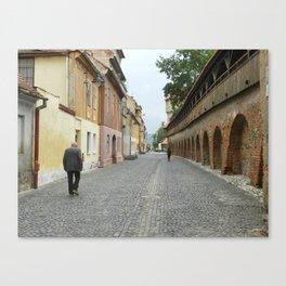 Old Walls, Old Man Walking Canvas Print