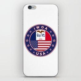 Iowa, Iowa t-shirt, Iowa sticker, circle, Iowa flag, white bg iPhone Skin
