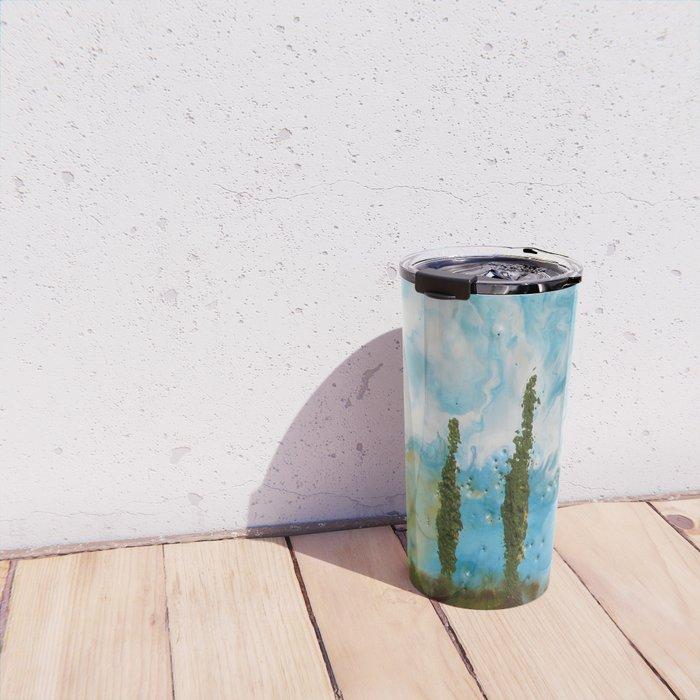Tuscan Sunset original Encaustic wax painting by Seasons Kaz Sparks Travel Mug