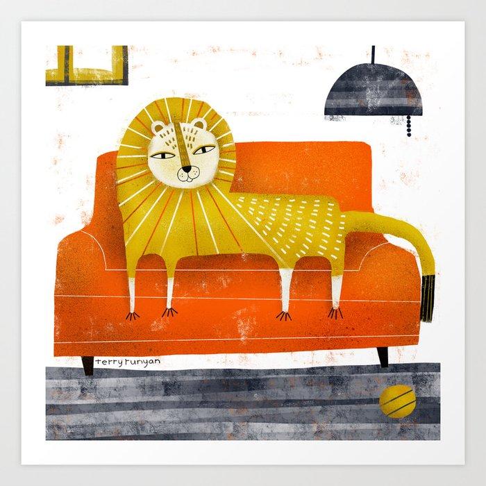 SOFA LION Art Print