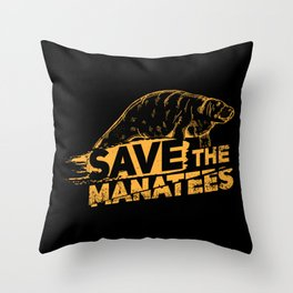 Save The Manatees I - Nature & Wildlife Gift Throw Pillow
