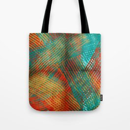 Red and Turquoise Weave Tote Bag