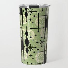 Retro Atomic Mid Century Pattern 771 Sage Travel Mug
