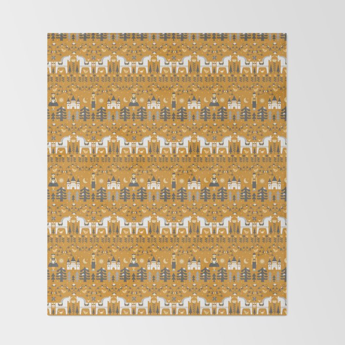 Yellow + Gray Fairy Tale Throw Blanket