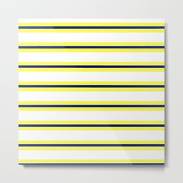 Nautical Yellow, White and Navy, Crisp and Clean Lines Metal Print