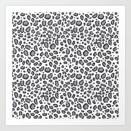 Cheetah pattern animal spots animal print pattern minimal black and white Art Print