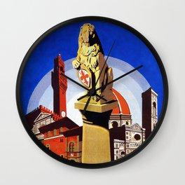Florence Firenze travel, lion statue Wall Clock