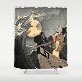 Benkei Calming the Waves at Daimotsu Bay :Tsukioka Yoshitoshi - One Hundred Aspects of the Moon Shower Curtain