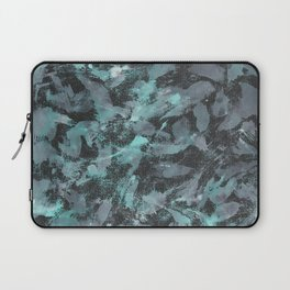 Green and White Ink on Black Background Laptop Sleeve