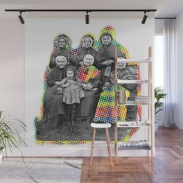 THE SIX GRANDMOTHERS IN PIXELATED PLAID Wall Mural