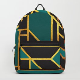 Art Deco Leaving A Puzzle In Turquoise Backpack