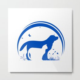 Dog and Cat and nature Silhouette Metal Print