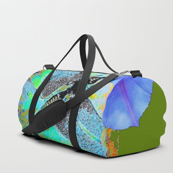 BLUE DRAGONFLIES MORNING GLORY GREEN ART Duffle Bag