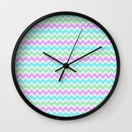 Turquoise Aqua Blue and Light Purple Lavender and Mint Green Wall Clock