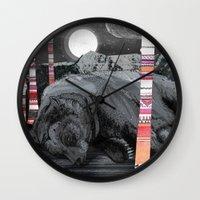 dreams Wall Clocks featuring Sweet Dreams Ursus Arctus  by Sandra Dieckmann