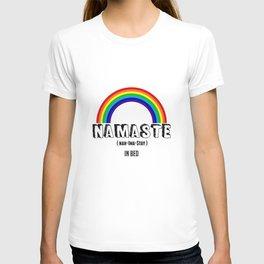 Namaste (In Bed) Yoga Rainbow T-shirt