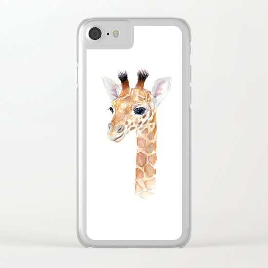 Baby Giraffe Cute Animal Watercolor Clear iPhone Case