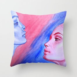 Red Meets Blue Throw Pillow
