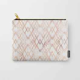 Golden beige pattern on white. Carry-All Pouch