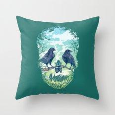 Nature's Skull (Green) Throw Pillow