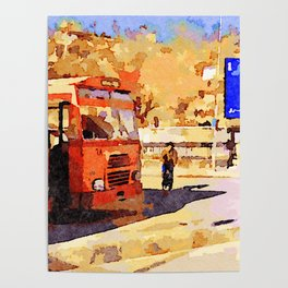 Aleppo: buses and child riding a bicycle Poster