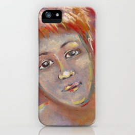 Red portrait of a young woman drawing by pastel iPhone Case